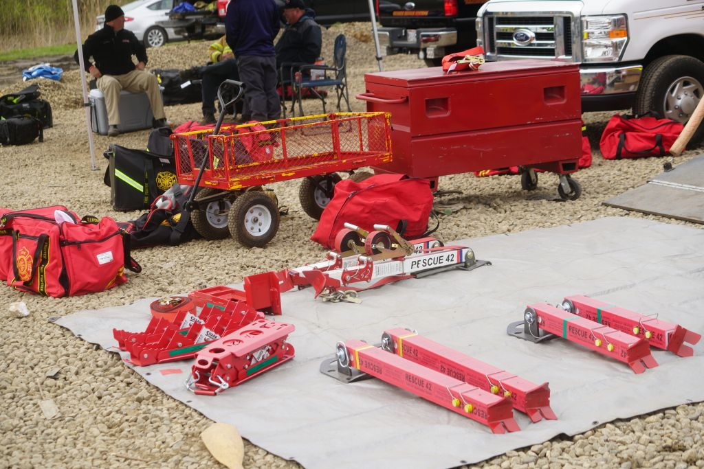 Vehicle extrication tools laid out to use during training.