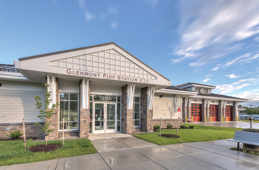 The Montgomery County (MD) Fire & Rescue Service's Glenmont Station 18 in Silver Spring was designed by Hughes Group Architects in the traditional style to complement the character of homes in the area. (Photos 1-8 courtesy of Hughes Group Architects.)