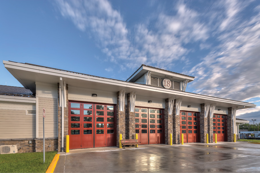Glenmont Station 18 was designed with four double-deep, drive-through apparatus bays.