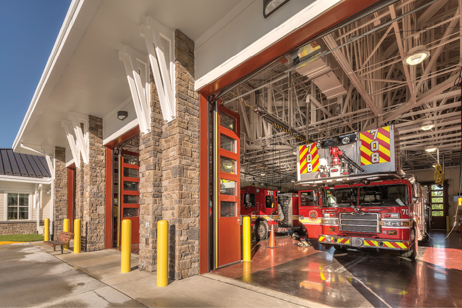 Bifold doors were installed in the front and back openings on the apparatus bays. The length of each bay is 84 feet.