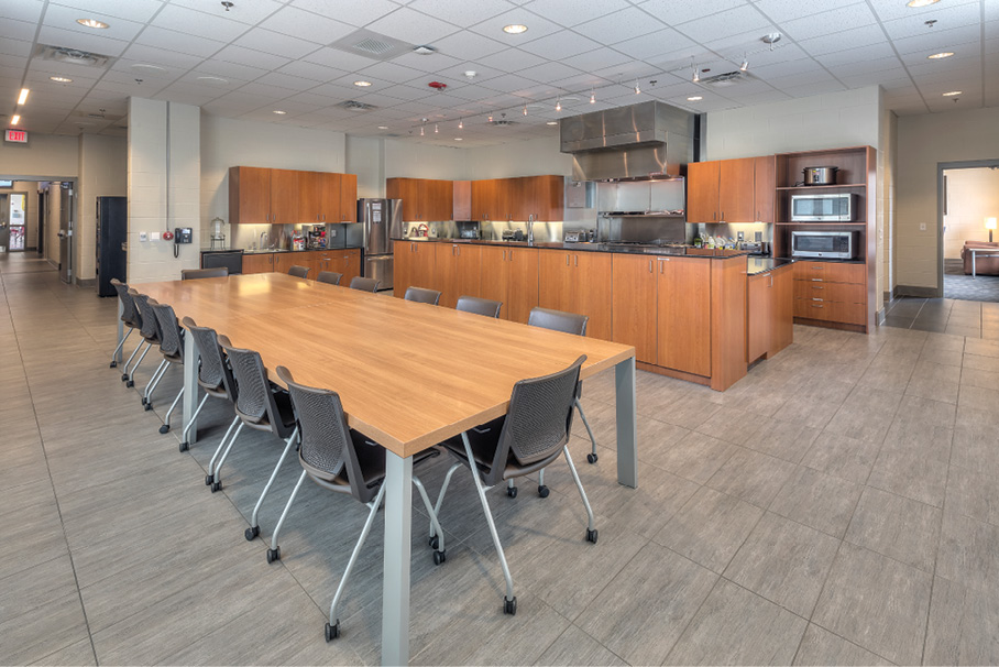 Glenmont Station 18 has an open-space-concept kitchen and dining area.