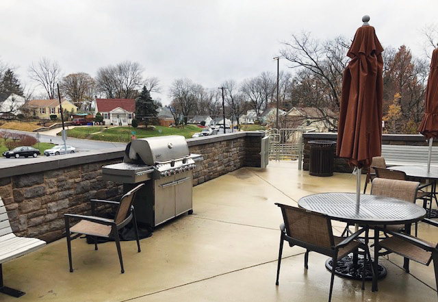 The barbecue and patio area off of the firehouse's kitchen