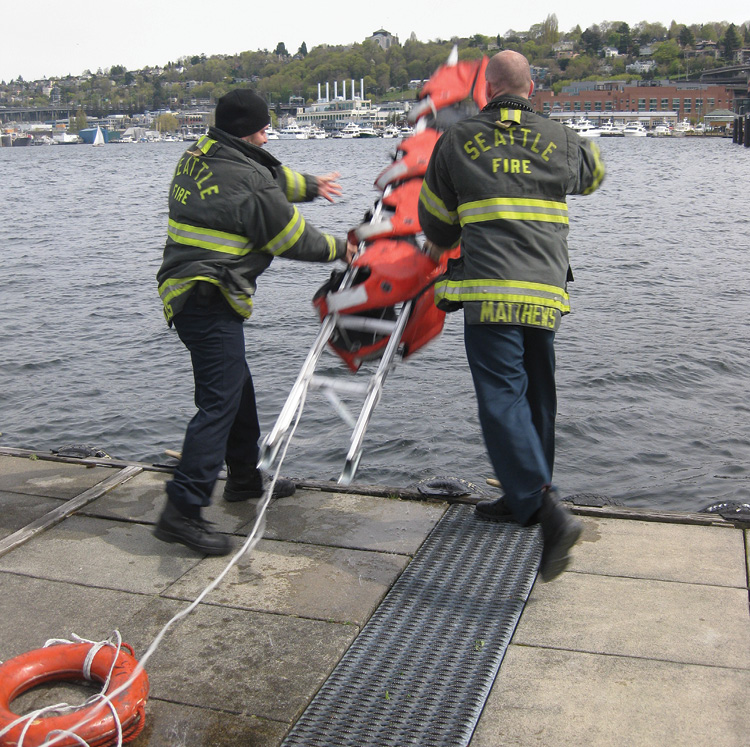 The floating ladder is difficult to throw with any distance. A swimmer will need to tow it out to the victims.