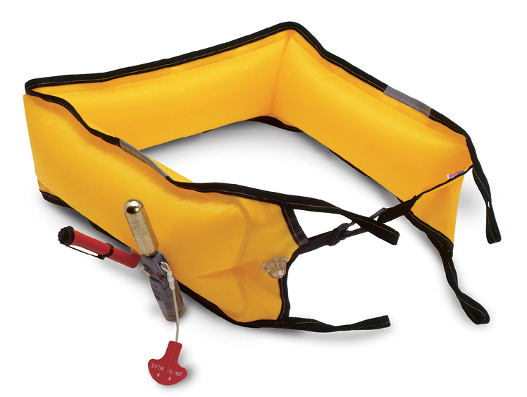 The nosecone burst cap is designed to automatically deploy and inflate the rescue collar on contact with a body of water. There are two manual backup systems on the autoinflating sling to ensure fail-safe inflation, similar to the life vests carried for passengers on commercial airlines. There is also a bright strobe light attached to the vest to keep track of a victim at night. (Photo courtesy of ResQmax.)