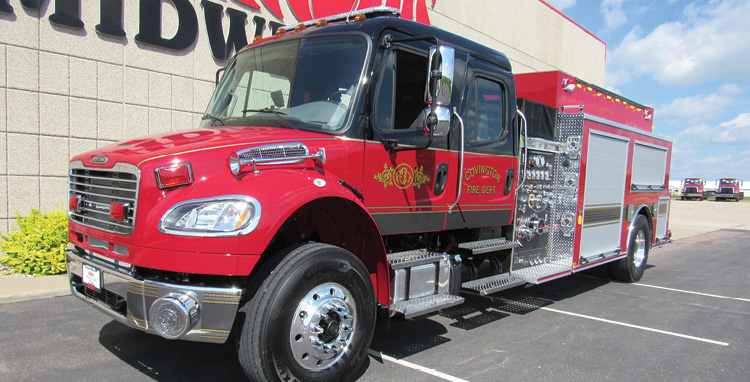 Midwest Fire—Covington (TN) Fire-Rescue pumper-tanker. Freightliner M2 cab and chassis; Cummins L9 350-hp engine; Hale Qmax 1,500-gpm pump; APR 2,000-gallon polypropylene tank; Newton 10-inch square stainless-steel square dump valve with telescoping chute; Zico electric portable tank carrier; 2,100-gallon portable tank; All-Poly™ construction. Dealer: Joe Hlushak, Midwest Fire, Luverne, MN.