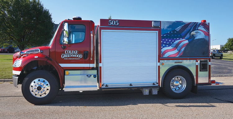 Spencer Manufacturing—Colfax-Greenwood Fire Department, Manton, MI, tanker. Freightliner M2 cab and chassis; Cummins ISL9 350-hp engine; Hale Side Kick 750-gpm pump; UPF Poly 2,047-gallon tank. Dealer: Grant Spencer, Spencer Manufacturing, South Haven, MI.