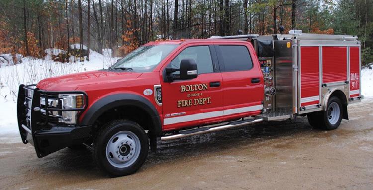 HME Ahrens-Fox—Bolton (VT) Fire Department MiniEvo mini pumper. Ford F-550 4x4 SD Crew Cab XLT and chassis; Ford Power Stroke 6.7L V8 330-hp engine; Hale DSD 1,500-gpm pump; 300-gallon polypropylene tank; 15-gallon foam cell; FRC 2.6 direct injection Class A foam system. Dealer: Glenn Davis, Lakes Region Fire Apparatus, Ossipee, NH.