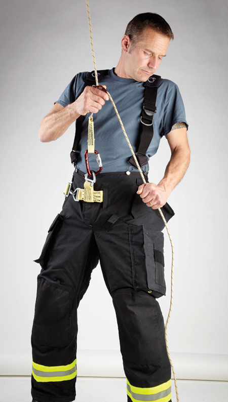 Lion integrates a Class II harness into its turnout pant that attaches to a firefighter's bailout kit. Lion also makes variations in the turnout pant pockets to carry the escape kit. (Photos 1 and 2 courtesy of Lion.)