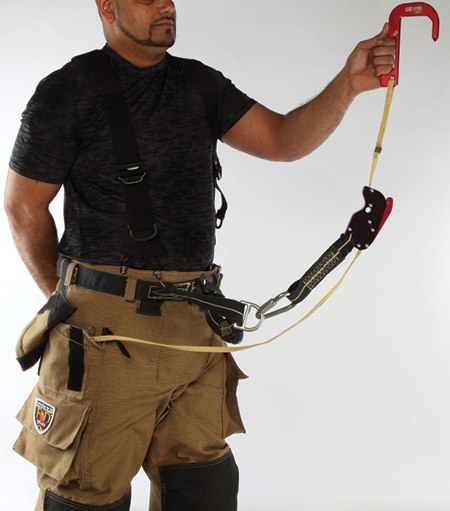 This personal escape system is set up attached to the Class II harness in Fire-Dex's I2H pant.