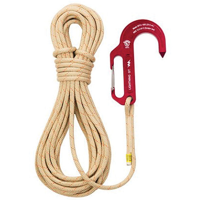 Sterling Rope also makes the Lightning GT Hook, shown here attached to 50 feet of SafeTech rope.