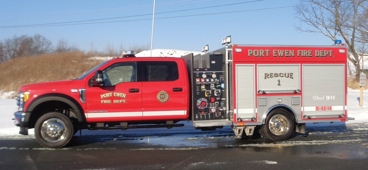 Sutphen built this mini pumper for the Port Ewen (NY) Fire Department on a Ford F-550 chassis with a Hale 1,250-gpm pump and a 300-gallon water tank.