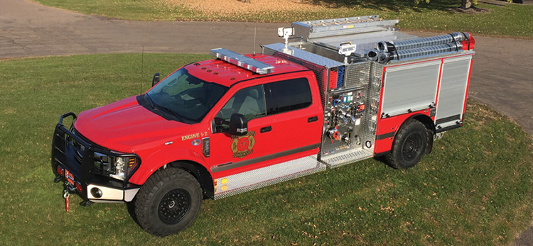 W.S. Darley & Co. built this WASP mini pumper for the Johnson Siding (SD) Fire Department with a Darley PSMC 1,500-gpm pump, 300-gallon water tank, 25-gallon Class A foam tank, FoamPro 2001 foam system, and 120-cfm rotary screw air compressor.