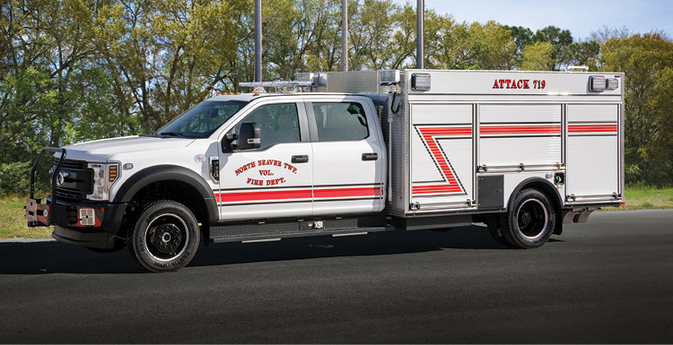Pierce Manufacturing built this mini pumper for the North Beach Township (PA) Volunteer Fire Department on a Ford F-550 chassis and four-door cab with a Waterous 1,500-gpm pump, a 300-gallon water tank, and a Pierce Husky 3 foam system.
