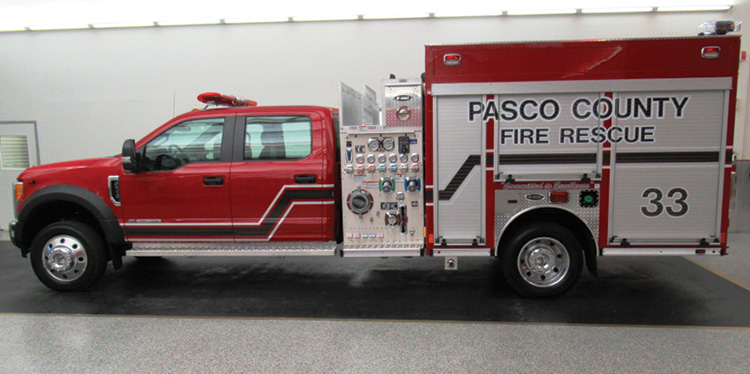 E-ONE built this mini pumper for the Pasco County (FL) Fire Rescue on a Ford F-550 4x2 chassis and four-door cab with a 1,000-gpm Hale pump and a 300-gallon water tank.