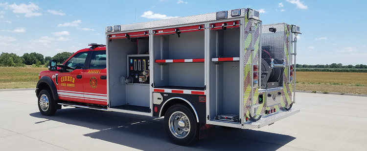 The Cub Run (KY) Fire Department had Unruh Fire build this mini pumper on a Ford F-550 chassis with a Waterous 500-gpm split shaft pump, a 300-gallon water tank, and a 12-gallon Class A foam tank.