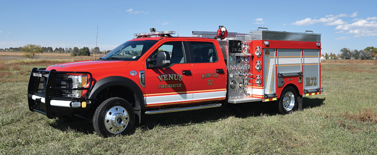 SVI Trucks built this quick-attack pumper for the Venus (TX) Fire Department on a Ford F-550 4x4 chassis and four-door cab with a Hale 1,250-gpm midship pump, a 300-gallon water tank, a 10-gallon foam tank, and a Waterous Aquis foam system.