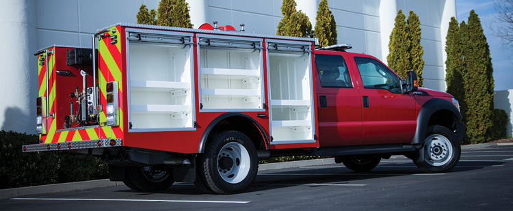 QTAC Fire builds mini-pumpers on Ram 5500 chassis using a PolyTough™ body and carrying a Waterous B2x high-volume pump and a 400-gallon water tank.