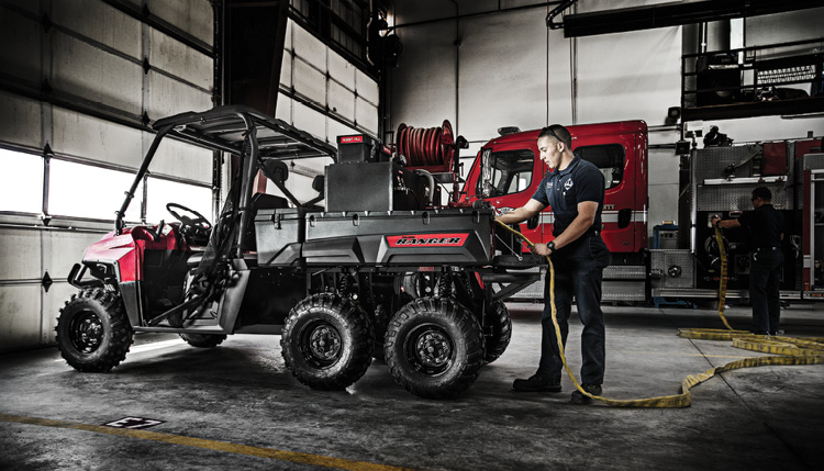 This Polaris Ranger is set up for fire suppression on a 6x6 chassis. (Photos 1 and 2 courtesy of Polaris.)