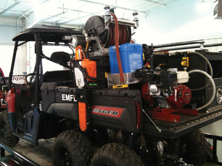 This CET FIRE PACK fire suppression skid is installed on a Polaris Ranger 6x6 UTV. (Photos 3 and 4 courtesy of CET Fire Pumps.)
