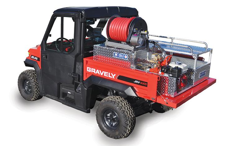This Kimtek FIRELITE FDH-203 Transport Deluxe skid is installed on a Gravely 4x4 UTV. (Photo courtesy of Kimtek Corp.)