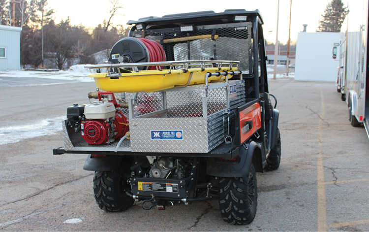 The Wausaukee (WI) Fire Department installed a Kimtek Transport Deluxe skid unit on its Kubota 4x4 UTV. [Photo courtesy of the Wausaukee (WI) Fire Department.]