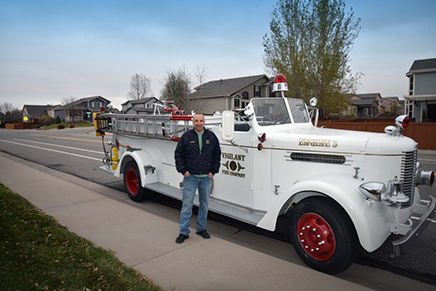 Greeley (CO) Fire Department Battalion Chief Kevin Maloney stands next to his refurbished Peter Pirsch pumper. (Photos by author unless otherwise noted.)