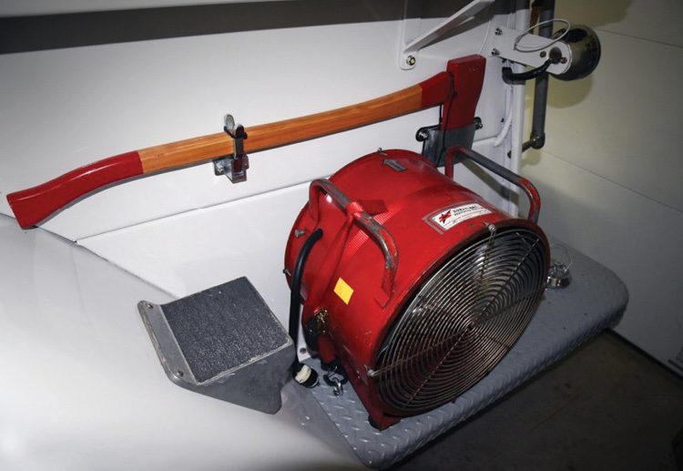 Maloney's truck showcases several vintage finds, including this Super Vac ventilation fan.