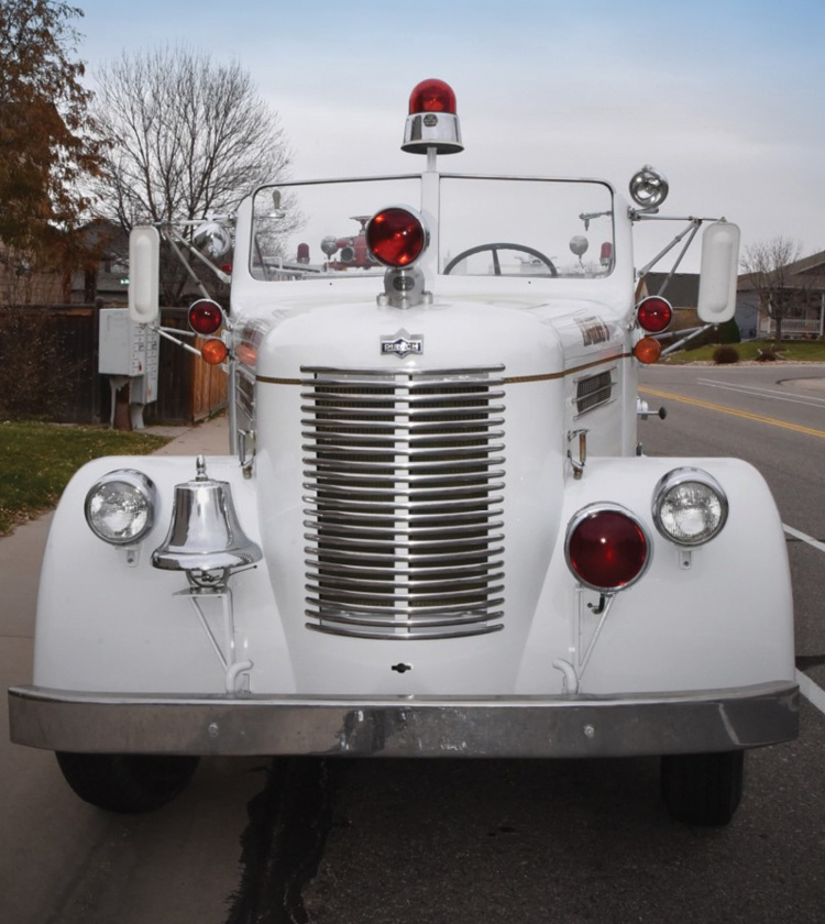 The front profile of Maloney's Pirsch pumper—the personality of the truck.