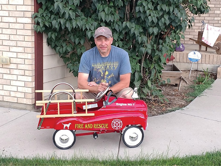 Maloney's next project: transforming this pedal car into a replica of his truck. (Photo courtesy of Kevin Maloney.)