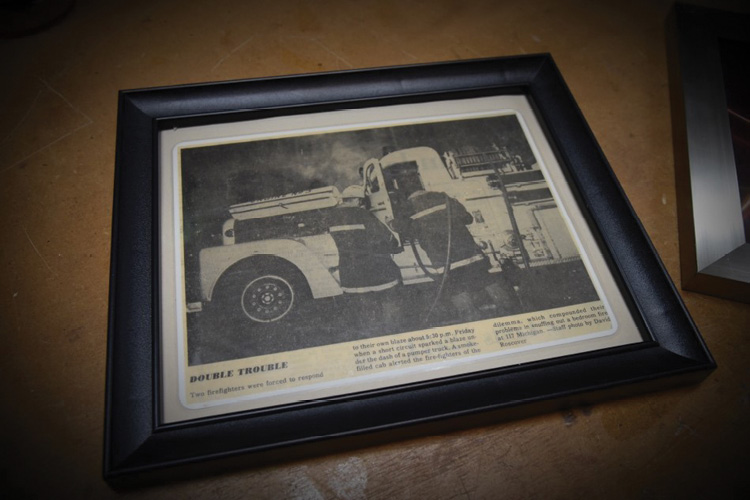 Kevin's father, a Pueblo, Colorado, fire engineer, was photographed working on this 1950s-era truck.