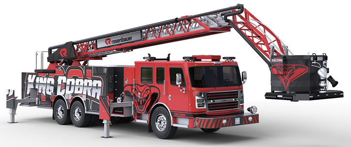 1Rosenbauer has introduced the 101-foot King Cobra aerial ladder platform that has the last eight feet of the aerial set up as an articulated fly section. (Photo courtesy of Rosenbauer.)