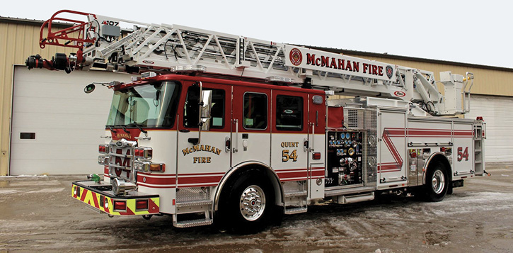 3This Ascendant 107-foot rear-mount aerial ladder was built by Pierce Manufacturing for the McMahan (OH) Fire Department.