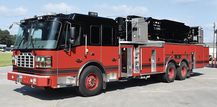 6Ferrara Fire Apparatus built this HD-100 midmount aerial platform for the Fall River (MA) Fire Department. (Photo courtesy of Ferrara Fire Apparatus.)