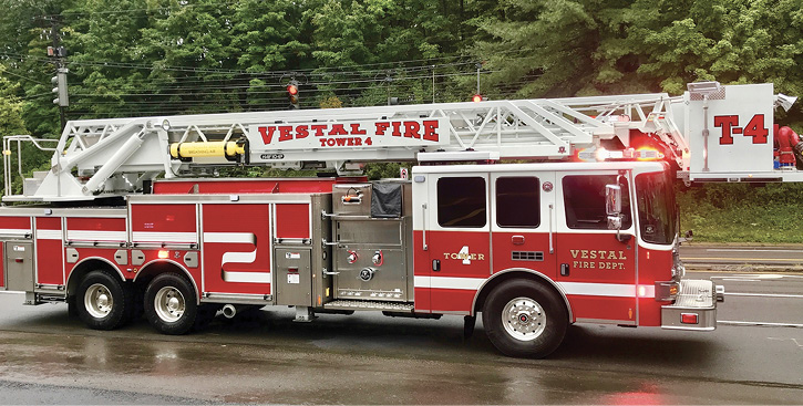 7HME Ahrens-Fox built this AF104P 104-foot aerial platform on a tandem rear axle for the Vestal (NY) Fire Department. (Photos 7-8 courtesy of HME Ahrens-Fox.)