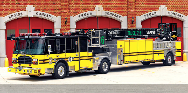 Ferrara Fire Apparatus built this 101-foot TDA on an Igniter chassis powered by a 600-hp Cummins engine and an Allison 4000 EVS automatic transmission. (Photo courtesy of Ferrara Fire Apparatus.)