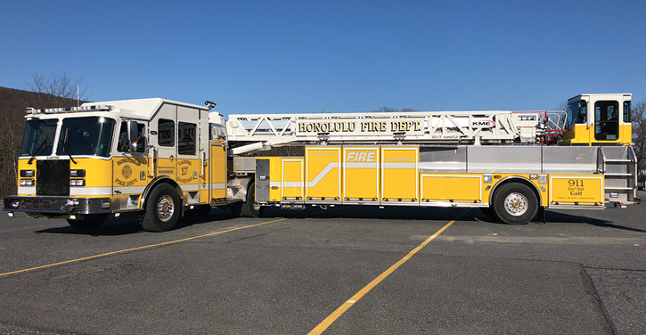 KME built two 101-foot AerialCat™ TDAs for the Honolulu (HI) Fire Department on Severe Service™ LFD cabs with 18-inch raised roofs and prepiped waterways. (Photo courtesy of KME.)