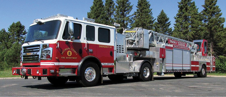 3The Baltimore County (MD) Fire Department had Rosenbauer build this 100-foot tiller on a Commander chassis. (Photo courtesy of Rosenbauer.)
