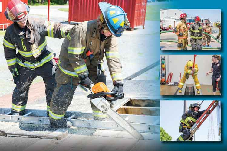 Female firefighters at work