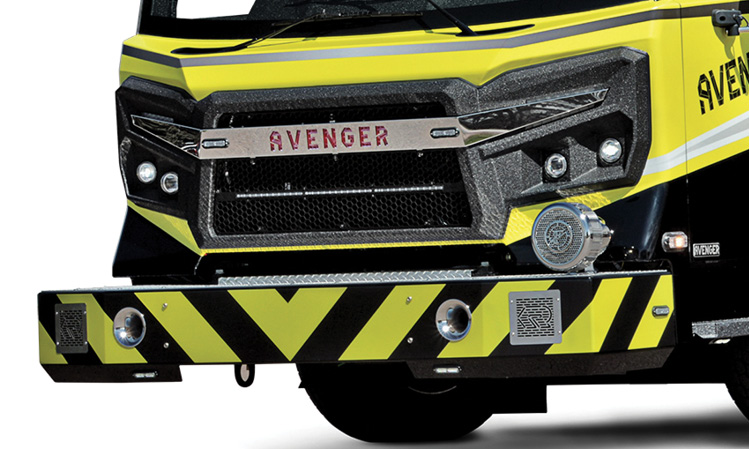 Rosenbauer's stylistic Avenger chassis uses 4.27-inch round headlights, which have been proven successful on its Panther aircraft rescue and firefighting apparatus and in the bus industry for many years. (Photo courtesy of Rosenbauer.)