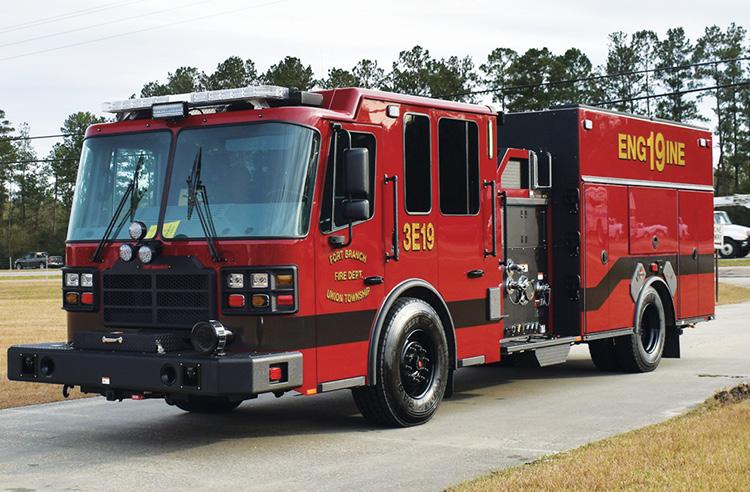 Ferrara—Fort Branch/Union Township (IN) Fire Department pumper. Cinder cab and chassis; Cummins ISL9 450-hp engine; Waterous CSU 1,750-gpm pump; 750-gallon polypropylene tank; Whelen scene lights. Dealer: Jarrod Brown, Mid America Fire & Safety, Evansville, IN.