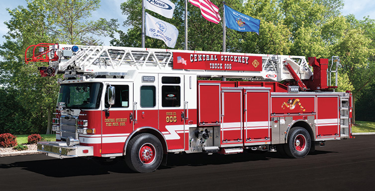 Pierce—Central Stickney Fire Protection District, Stickney Township, IL. 107-foot Ascendant PUC quint. Enforcer cab and chassis; Cummins L9 450-hp engine; Pierce 1,500-gpm single-stage pump; UPF Poly 500-gallon tank; Harrison 8-kW generator. Dealer: Vince Baudek, Global Emergency Products, Aurora, IL.