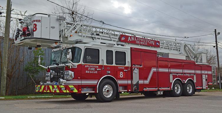 Spartan ER—Arlington (TX) Fire/Rescue, 100-foot aerial platform. Gladiator EMFD cab and chassis; Cummins X15 565-hp engine; Waterous CPK2 300-gpm PTO pump; Pro Poly 300-gallon polypropylene tank. Dealer: Scott Gibbs, Metro Fire Apparatus Specialists, Houston, TX.