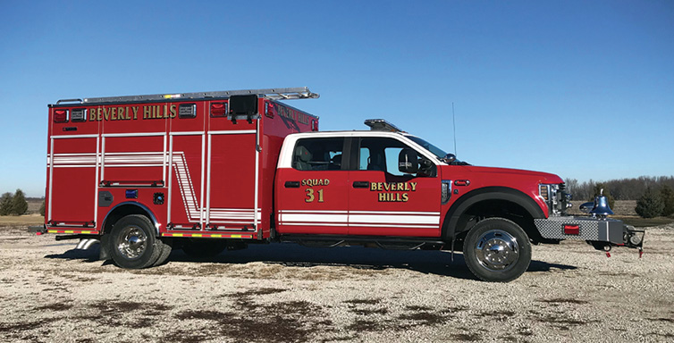 Alexis—Beverly Hills (MI) Public Safety mini pumper. Ford F-550 XL four-door 4x4 cab and chassis; Ford 6.7L V8 330-hp engine; heavy-duty stainless-steel body and sub-frame; Hale DSD 1,250-gpm pump; 300-gallon polypropylene tank; Audiovox back-up camera system; Whelen LED scene and warning lights  package. Dealer: Alexis Fire Equipment, Alexis, IL.