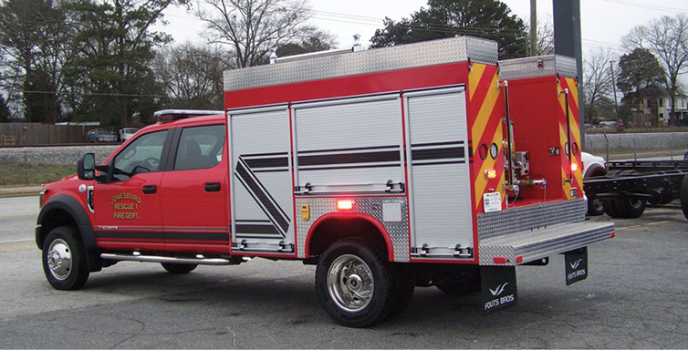 Fouts Bros.—Jonesboro (LA) Fire Protection District 1 mini pumper. Ford F-550 Crew Cab and chassis; Ford 300-hp engine; Darley 2BE18V375-gpm pump; UPF Poly 300-gallon tank; Dealer: Junior Ingram, Fouts Bros., Smyrna, GA.