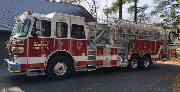 Sutphen—Western Reserve Joint Fire District, Poland, OH, SPH 100 aerial platform quint. Monarch cab and chassis; Cummins ISX12 500-hp engine; Waterous CSU 1,500-gpm pump; UPF Poly 300-gallon tank; Smart Power 10-kW generator; Stainless-steel body and subframe construction; Whelen LED warning lights; built in parapet ladder and Stokes basket storage on platform. Dealer: Ray Capezzuto, Herb Fire Equipment, Powell, OH.
