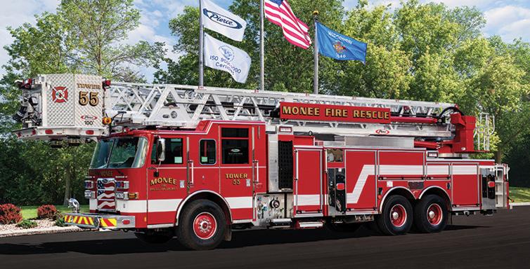 Pierce—Monee (IL) Fire Protection District platform quint. Arrow-XT cab and chassis; Detroit DD13 525-hp engine; Pierce PUC 1,500-gpm single-stage pump; UPF Poly 400-gallon tank; Harrison 10-kW generator. Dealer: Vince Baudek, Global Emergency Products, Aurora, IL.