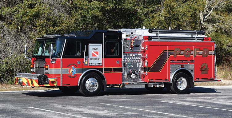 E-ONE—Punta Gorda (FL) Fire Department pumper. Typhoon cab and chassis; Cummins L9 350-hp engine; Hale Qflo 1,250-gpm pump; UPF Poly 780-gallon tank; driver and officer side EMS compartments; E-ONE designed two-arm ladder rack; Akron Apollo hi-riser deck gun. Dealer: Steve Kern, Hall-Mark RTC, Ocala, FL.