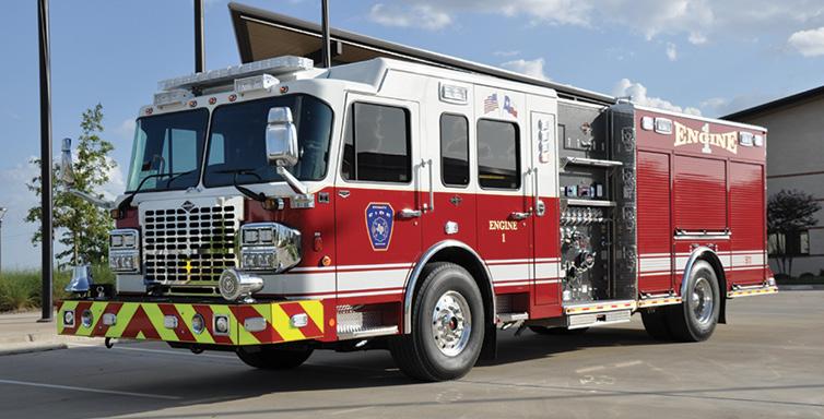 Spartan ER—Forney (TX) Fire/Rescue pumper. Metro Star LFD cab and chassis; Cummins X15 505-hp engine; Waterous CSU 1,500-gpm pump; Pro Poly 750-gallon polypropylene tank; 30-gallon foam cell; FoamPro 2001 single-agent foam system. Dealer: Ryan Snowden, Metro Fire Apparatus Specialists, Houston, TX.