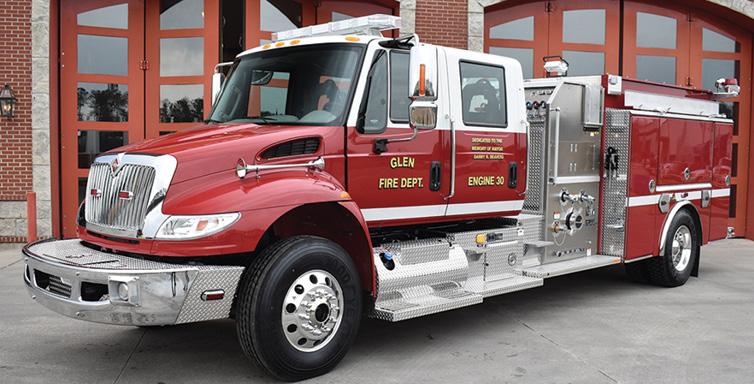 Ferrara—Glen (MS) Fire Department top-mount pumper. International 4400 SBA cab and chassis; Cummins ISL9 350-hp engine; Hale Qflo Plus 1,250-gpm pump; 1,000-gallon polypropylene tank; Whelen 600 Halogen scene lights. Dealer: Mark Flowers, Ferrara Fire Apparatus Inc., Holden, LA.