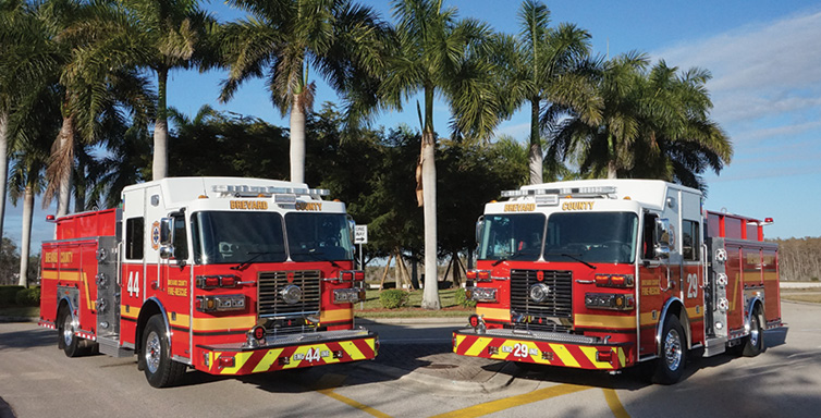 Sutphen—Brevard County Fire Rescue, Rockledge, FL, pumpers (2). Monarch cabs and chassis; Cummins L9 450-hp engines; Hale Qmax 2,000-gpm pumps; UPF Poly 1,000-gallon tanks; 20-gallon foam cells; FoamPro 2002 5.0-gpm foam systems; 5-inch front intakes; aluminum hose bed covers. Dealer: Guy Lombardo, South Florida Emergency Vehicles, Fort Myers, FL.